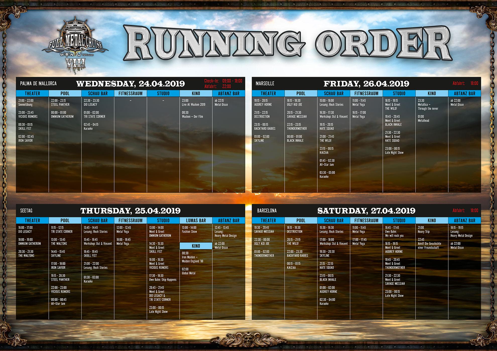 Die Running Order steht!